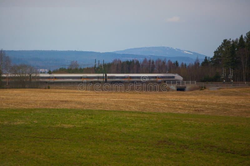 Tren de alta velocidad noruego en campo fotos de archivo libres de regalías