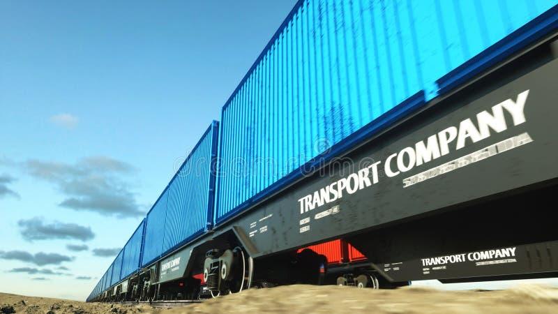 Tren de carga con los contenedores para mercancías Concepto de Logystic representación 3d stock de ilustración