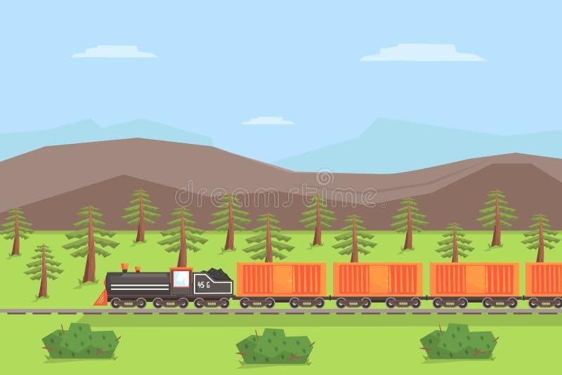 Tren de carga que se mueve en el paisaje de la naturaleza, transporte de carril en el ejemplo del vector del fondo de la montaña  stock de ilustración