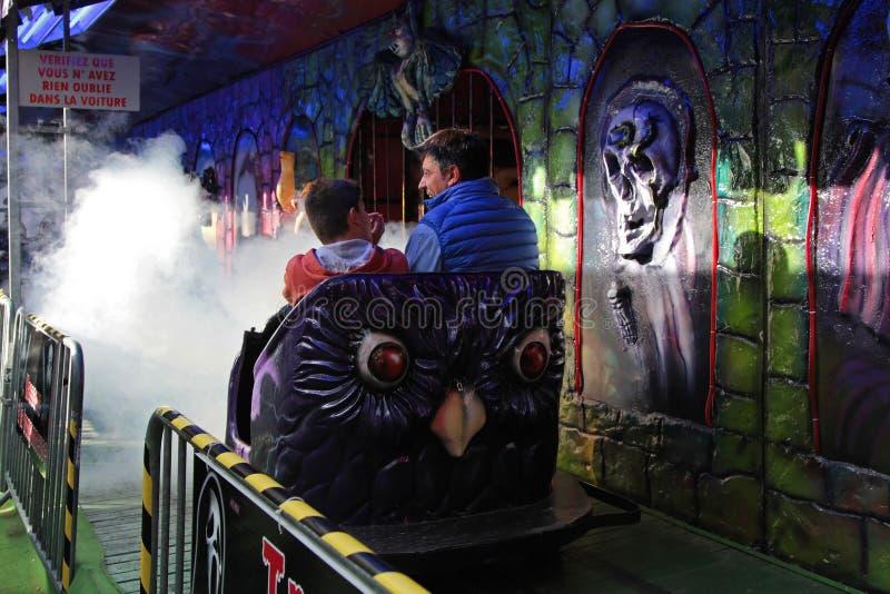 Tren de fantasma en el funfair foto de archivo libre de regalías
