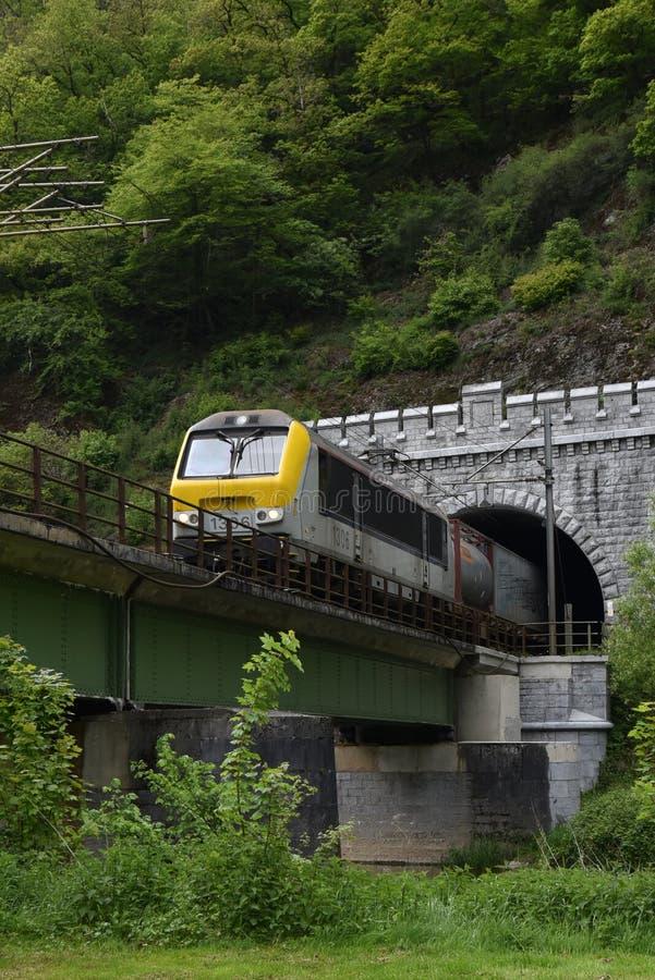 Tren de Fraight en montaña y puente de la travesía de Bélgica fotos de archivo