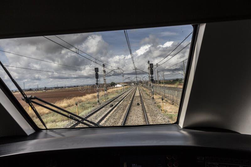 Tren de la máquina de la ventana fotos de archivo