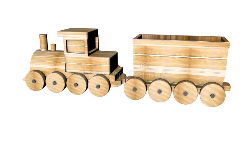 Tren de madera con los carros en un blanco representaci?n 3d ilustración del vector