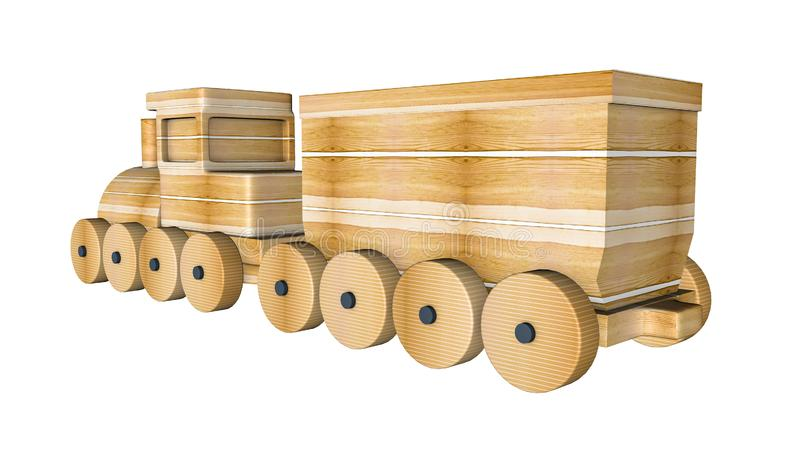 Tren de madera con los carros en un blanco representaci?n 3d stock de ilustración