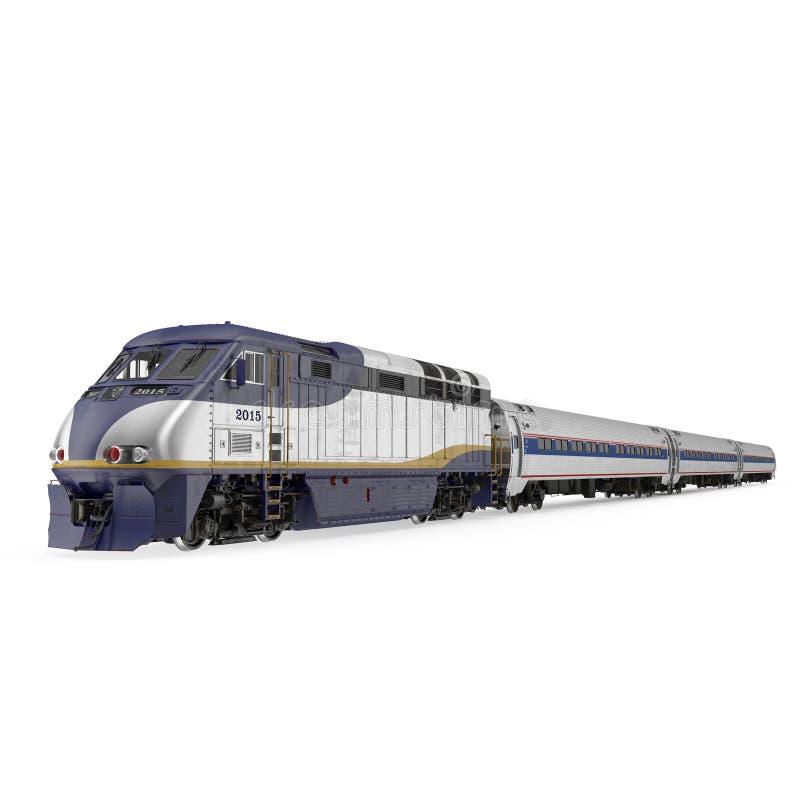 Tren de pasajeros de alta velocidad en blanco ilustración 3D ilustración del vector