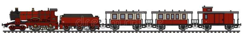 Tren de pasajeros rojo del vapor del vintage ilustración del vector