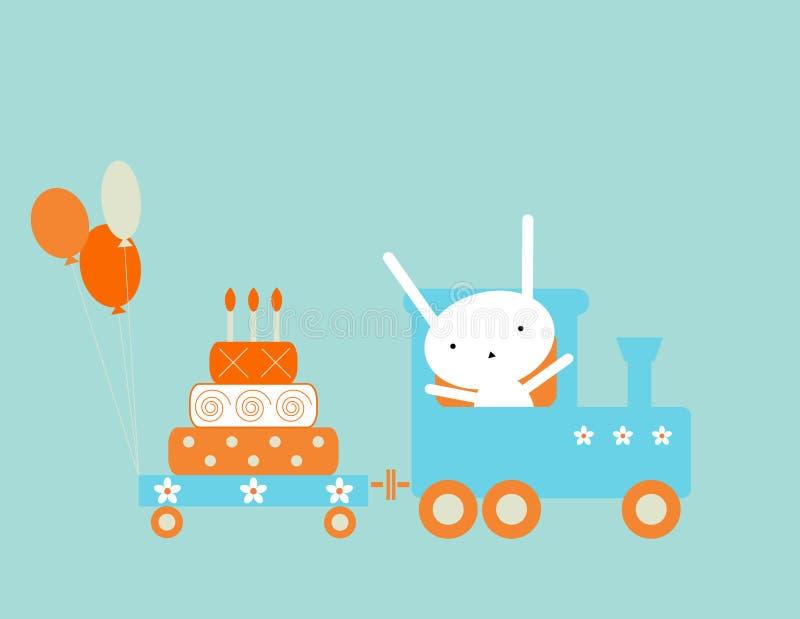 Tren del cumpleaños stock de ilustración