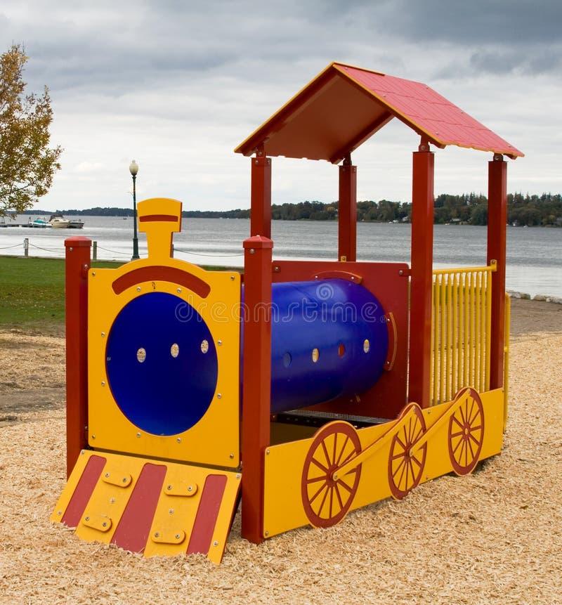 Tren del juguete del patio foto de archivo libre de regalías