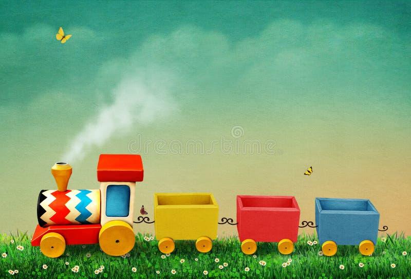 Tren del juguete del estaño con las cartas stock de ilustración