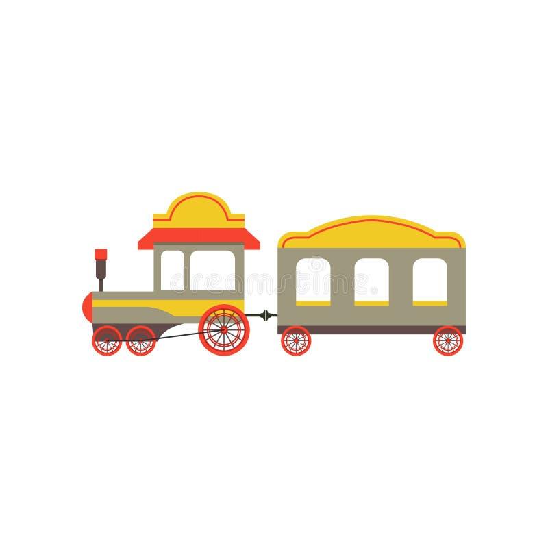 Tren del juguete del pasajero de los niños, juguete colorido del ferrocarril de la historieta con el ejemplo locomotor del vector stock de ilustración