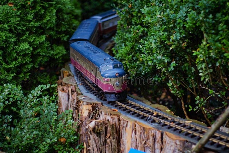 Tren del juguete que pasa a través de un jardín imagen de archivo