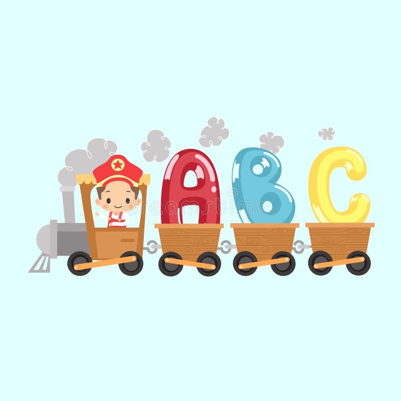 Tren del niño con ABC ilustración del vector