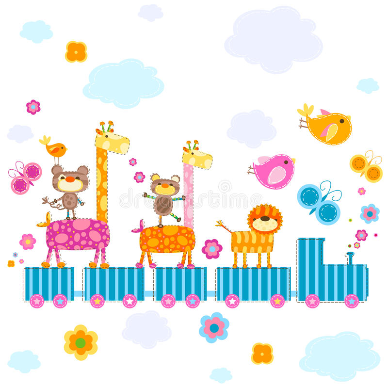 Tren del parque zoológico stock de ilustración