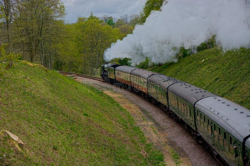 Tren del vapor del vintage del Scotsman que vuela foto de archivo