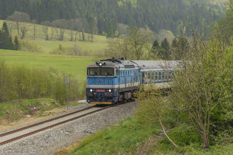 Tren diesel azul con el coche de pasajeros en las monta?as de Jeseniky fotografía de archivo libre de regalías