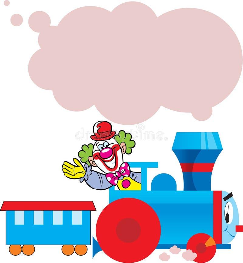 Tren divertido con el payaso stock de ilustración