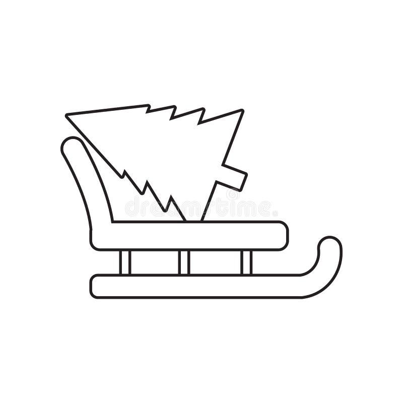 tren? do Natal de Papai Noel com ?cone do pinho Elemento do inverno para o conceito e o ?cone m?veis dos apps da Web Esbo?o, linh ilustração royalty free