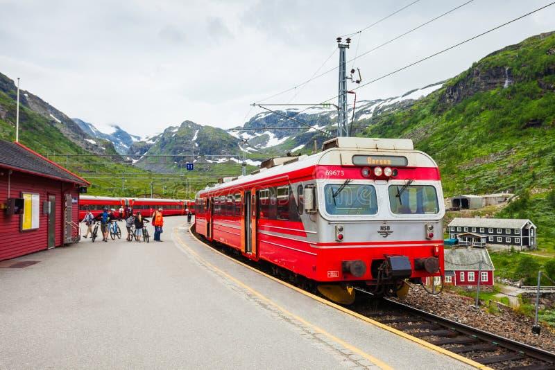 Tren en Myrdal, Noruega fotografía de archivo
