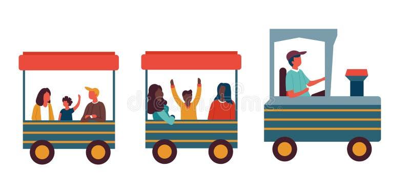 Tren en niños infantiles de la atracción del parque de atracciones en locomotora libre illustration