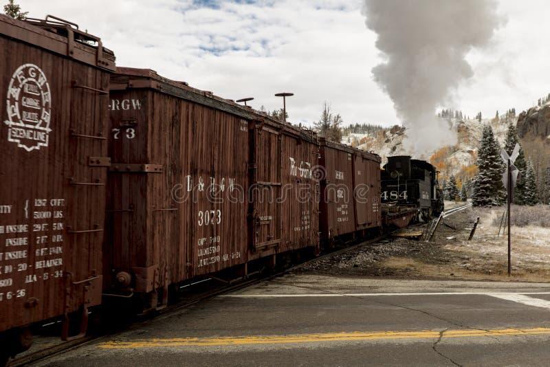 Tren escénico del vapor de Cumbres y de Toltec, Chama, New México a Antonio fotos de archivo