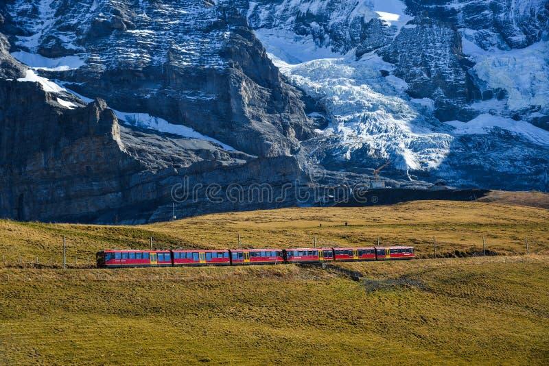 Tren escénico en picos alpinos de Suiza imagen de archivo libre de regalías
