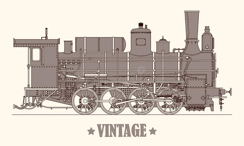 Tren exhausto de la locomotora de vapor de la mano de la historieta del vintage Ilustración del vector libre illustration