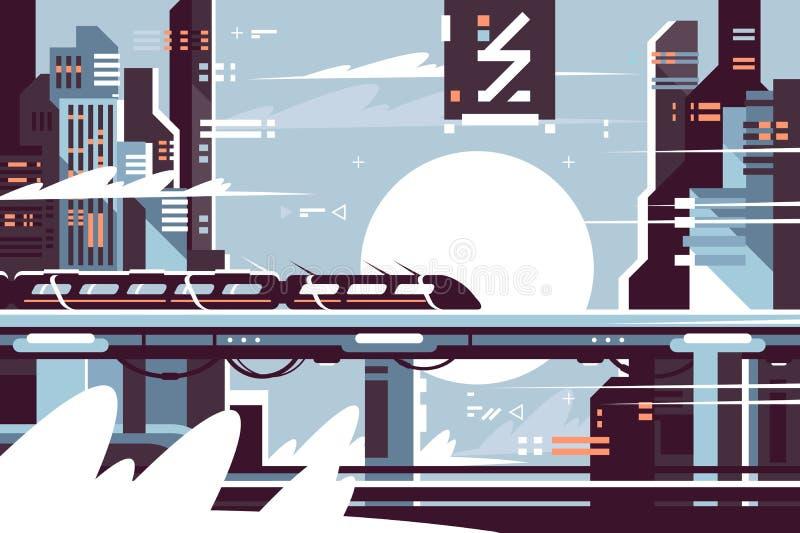 Tren fantástico futurista del futuro libre illustration