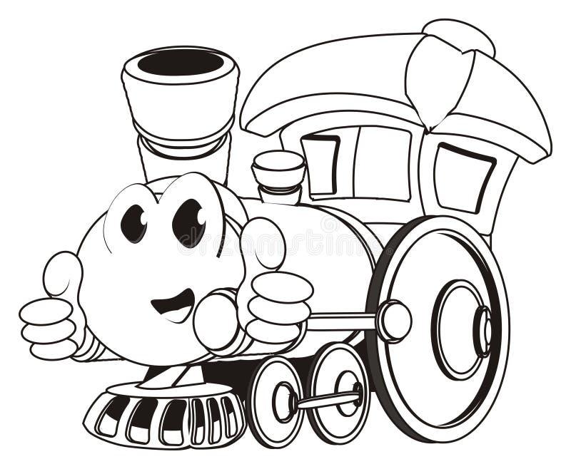 Tren feliz del juguete que colorea con gesto ilustración del vector