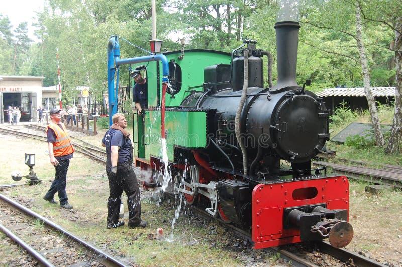 Tren ferroviario del vapor del indicador estrecho imagen de archivo libre de regalías