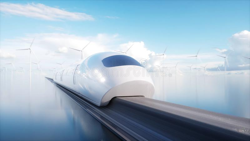 Tren futurista del monorrail de Speedly Estación de Sci fi Concepto de futuro Gente y robots Energía del agua y eólica 3d ilustración del vector