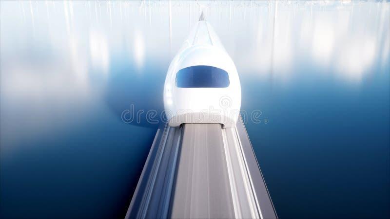 Tren futurista del monorrail de Speedly Estación de Sci fi Concepto de futuro Gente y robots Energía del agua y eólica 3d imagen de archivo libre de regalías