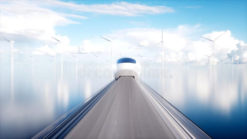 Tren futurista del monorrail de Speedly Estación de Sci fi Concepto de futuro Gente y robots Energía del agua y eólica 3d foto de archivo libre de regalías