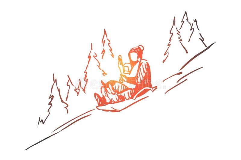 Tren?, inverno, montanhas, atividade, conceito do esporte Vetor isolado tirado m?o ilustração do vetor