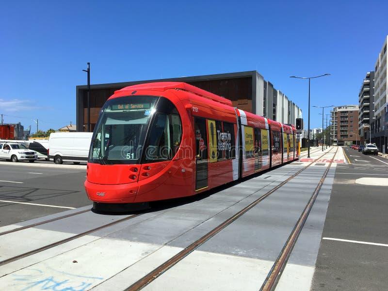 Tren ligero rojo del carril, Newcastle, NSW, Australia foto de archivo