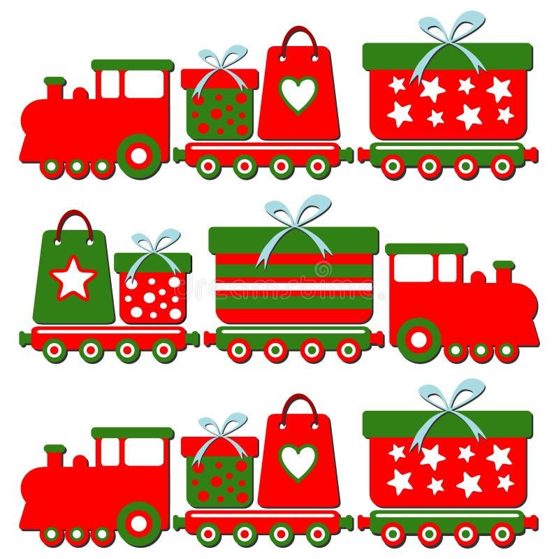 Tren lindo con las cajas de regalo, illus del vapor de la Navidad libre illustration