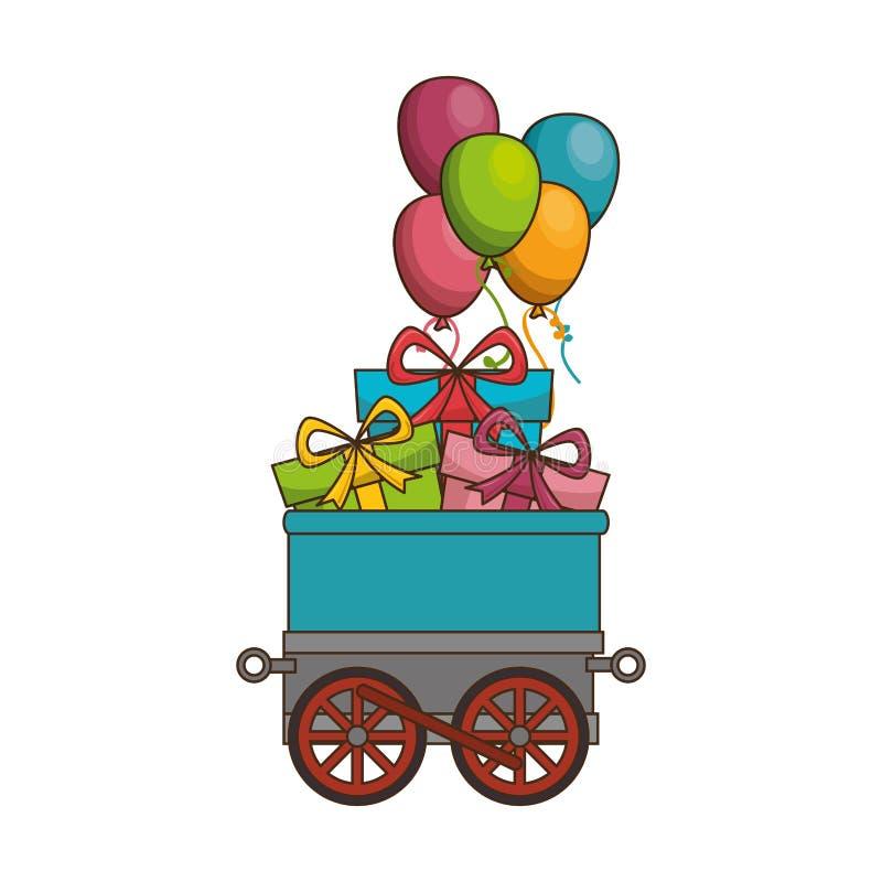 tren lindo con los regalos stock de ilustración