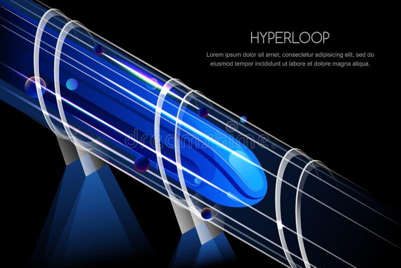 Tren magnético futurista de alta velocidad Ejemplo del vector de Hyperloop Ferrocarril expreso del futuro y concepto del transpor ilustración del vector