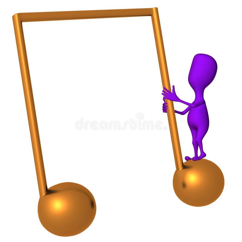 Tren púrpura de la marioneta 3d en icono de la nota libre illustration