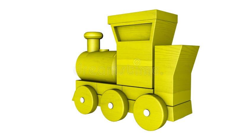 Tren pl?stico con los carros en un blanco representaci?n 3d stock de ilustración