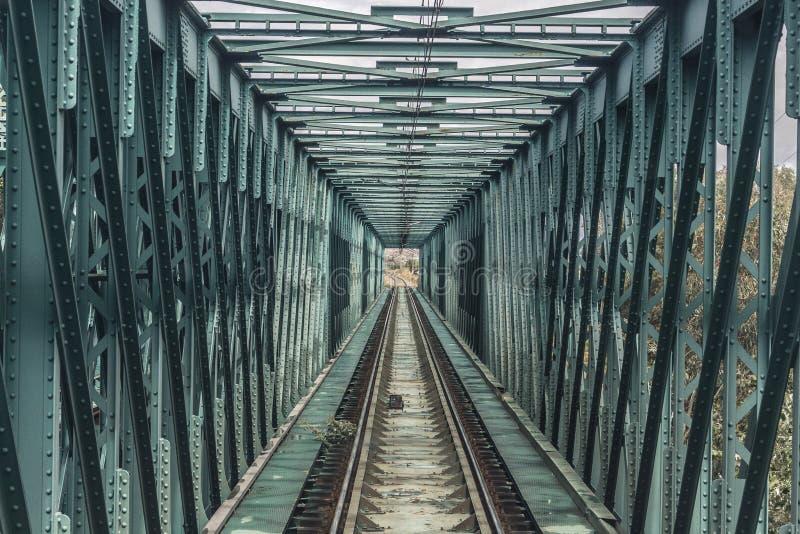 Tren que pasa sobre un puente foto de archivo libre de regalías