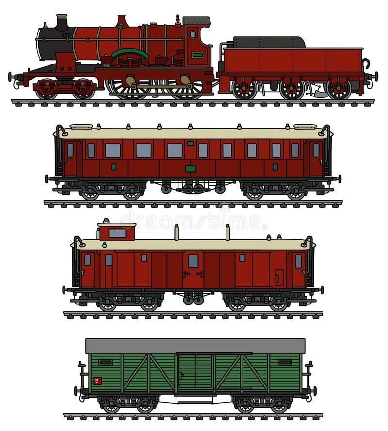 Tren rojo del vapor del vintage ilustración del vector