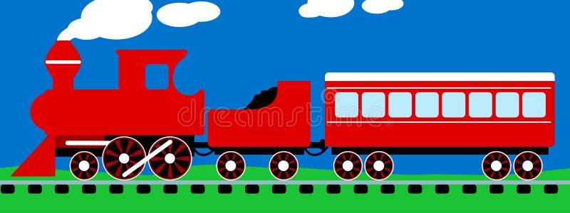 Tren rojo simple lindo del vapor en vías ilustración del vector