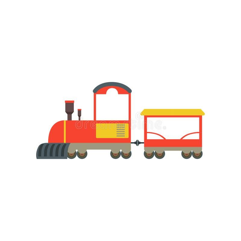 Tren rojo y amarillo de la historieta de los niños del juguete, juguete del ferrocarril con el ejemplo locomotor del vector en un ilustración del vector