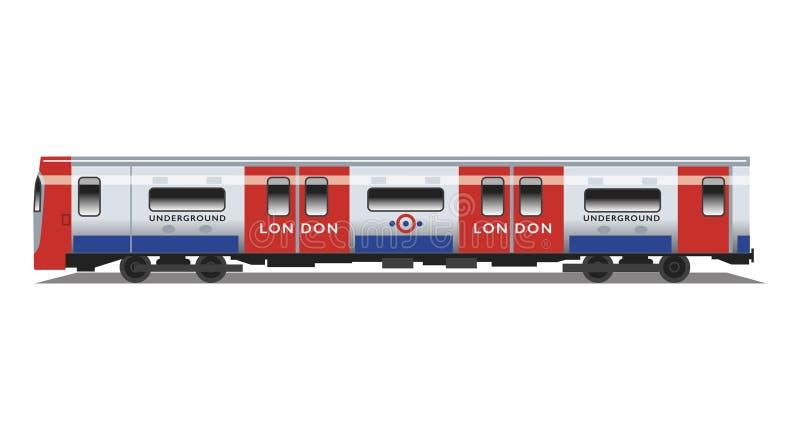 Tren subterráneo del tubo de Londres stock de ilustración