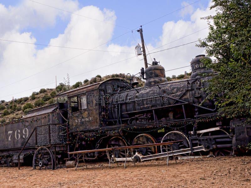 Tren viejo del Topeka de Atchison y de Santa Fe Railway en Madrid New México los E.E.U.U. fotografía de archivo libre de regalías