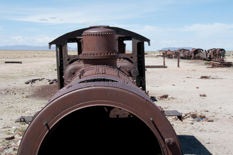 Tren viejo en Uyuni (Bolivia) fotografía de archivo libre de regalías