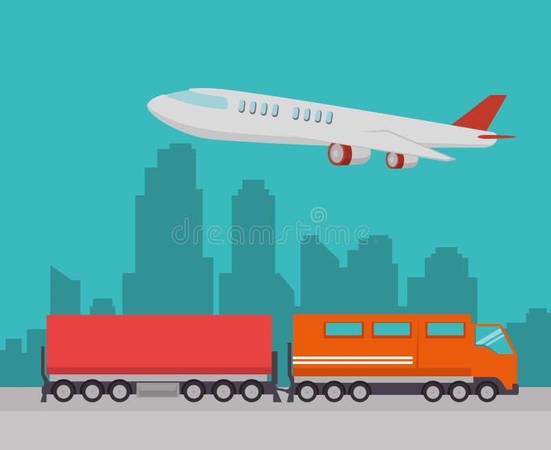 Tren y aeroplano del envío gratis de la importación libre illustration