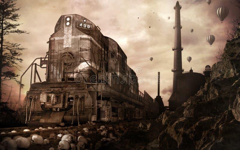 Tren y fábrica viejos ilustración del vector