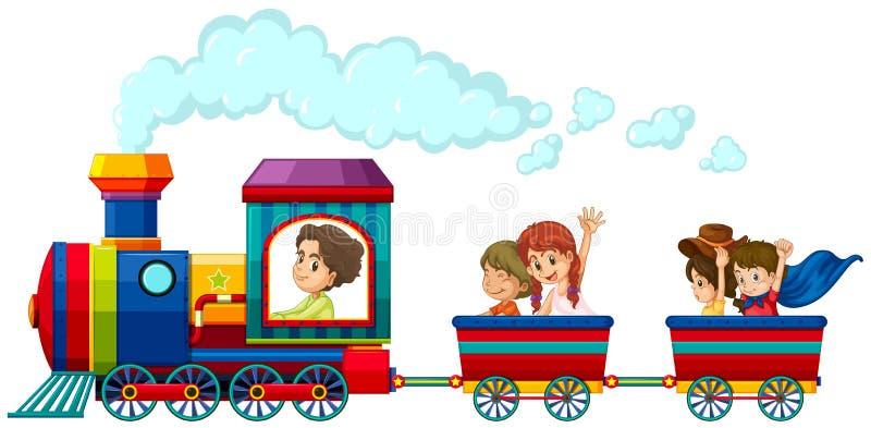 Tren y niños ilustración del vector