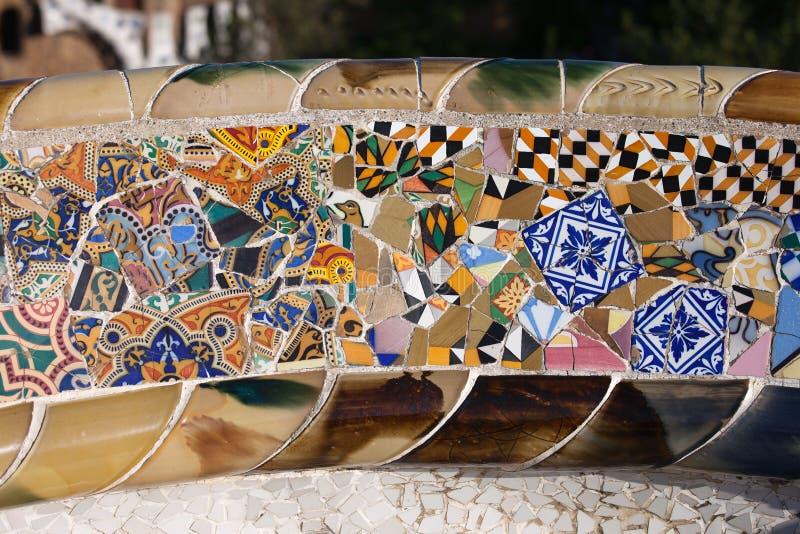 Trencadis Mosaic At Gaudi Park Guell In Barcelona Stock